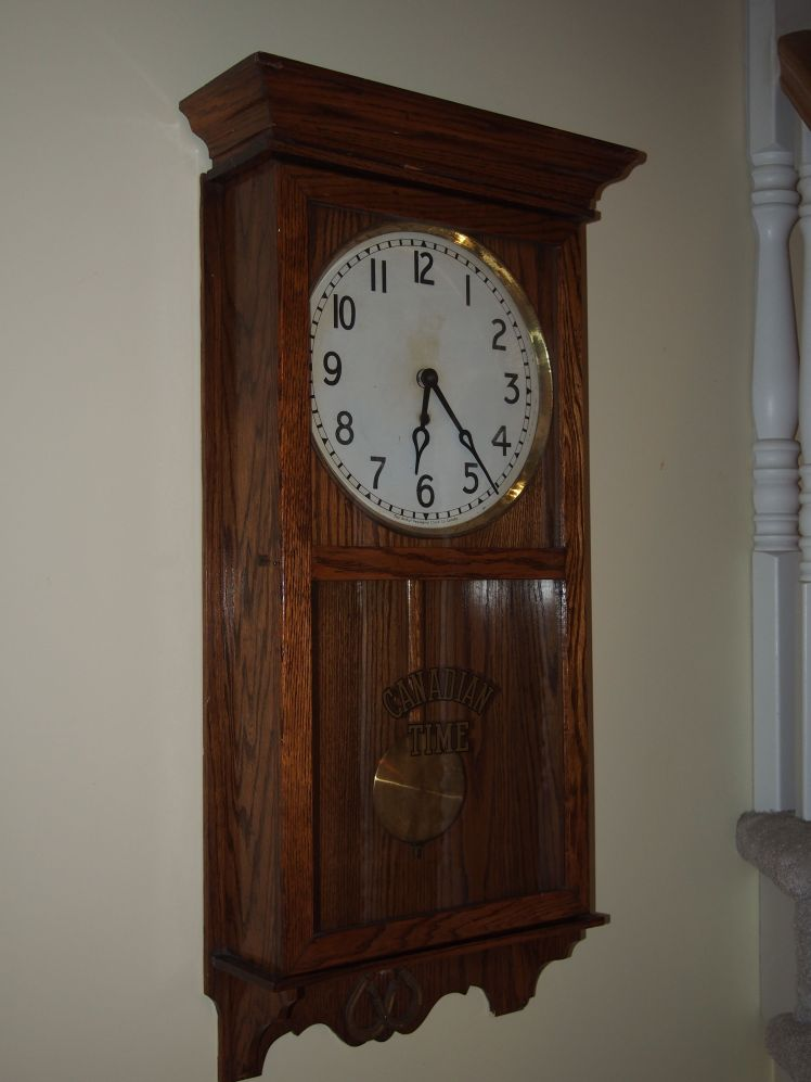 Former railway clock from a station in Pictou County, Nova Scotia