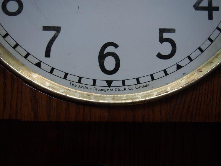 Clock face Arthur Pequegnat Canadian Time clock