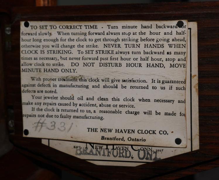 New Haven clock instructions