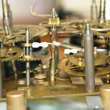 Side view of movement indicating solder points