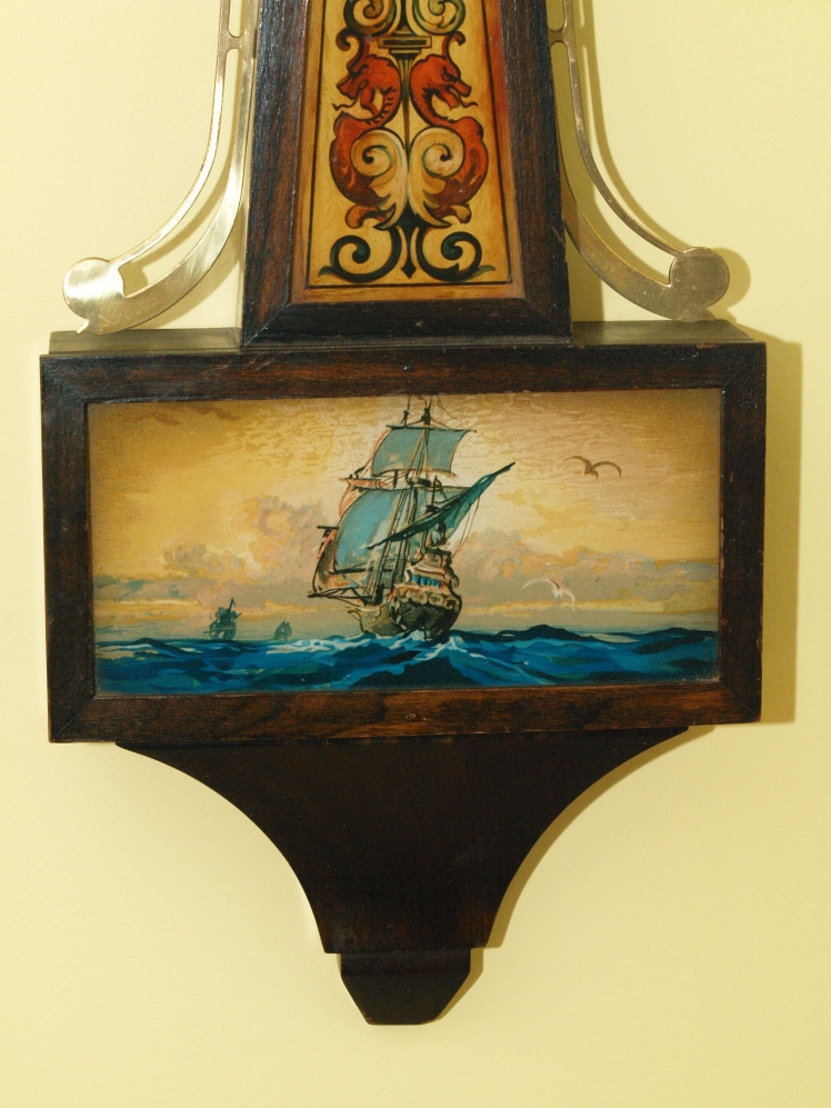 Reverse glass nautical scene