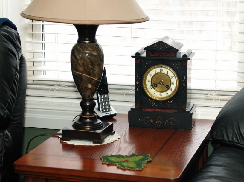 Circa 1890 French Black Marble mantel clock