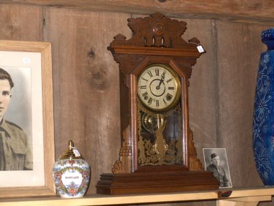 Clock displayed in antique shop