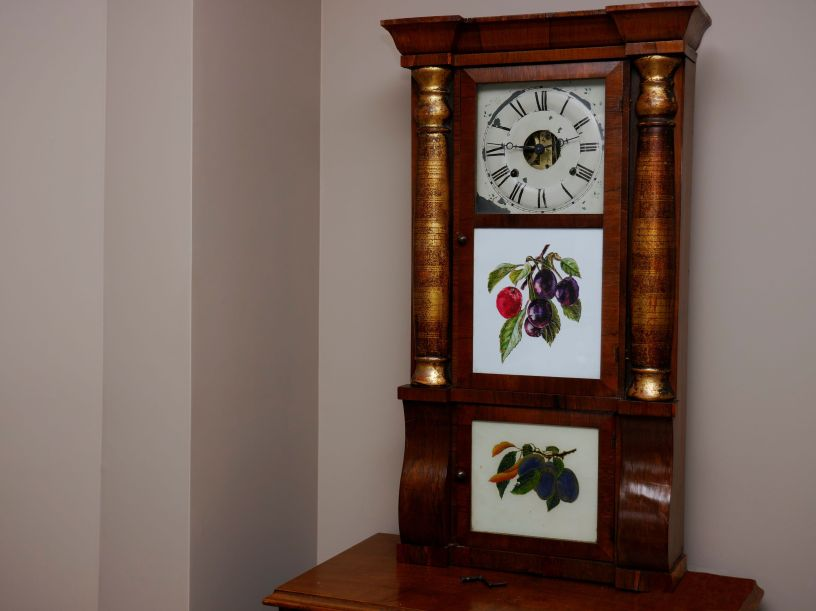"Seth Thomas column and cornice ""Empire"" style time and strike shelf clock"