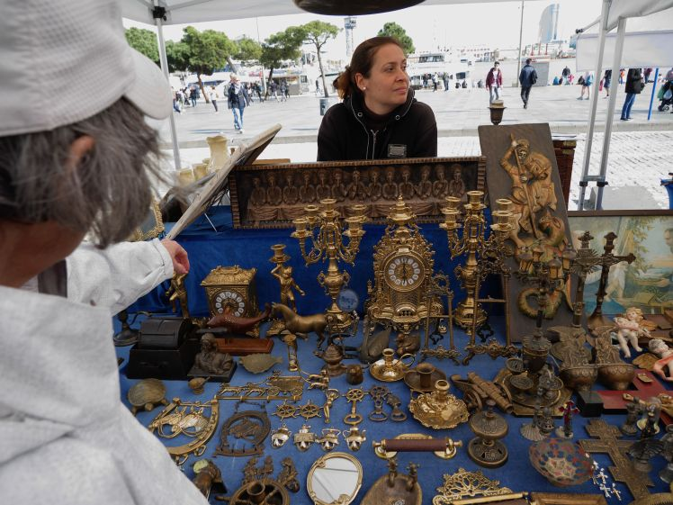 Flea market clock. Time and strike French clock with matching candelabra