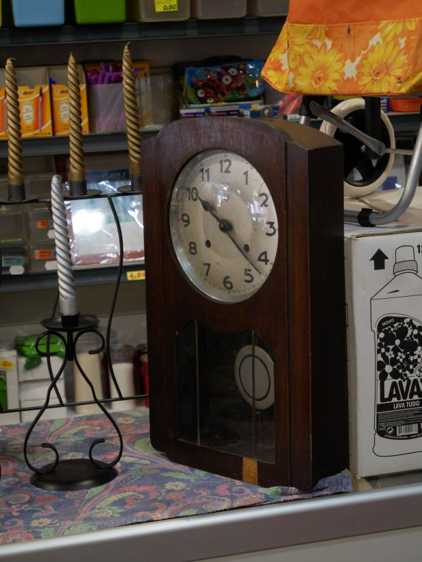 Used goods store, time and strike wall clock, possibly French