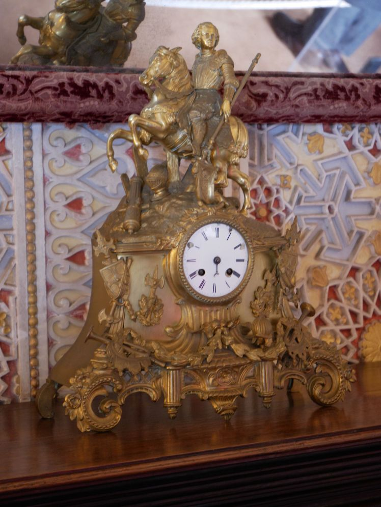 Very ornate clock in poor condition, Pena Palace, Sintra, Portugal
