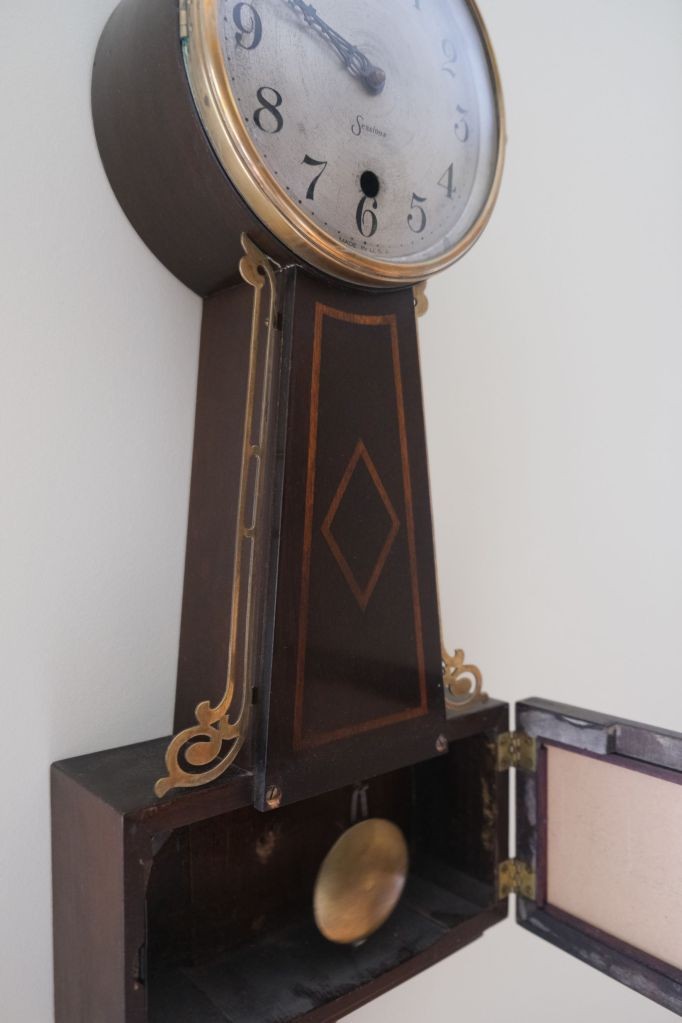 Clock throat showing faux inlay